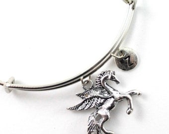 PEGASUS bangle, silver tone Pegasus bracelet, Pegasus charm, initial bracelet, adjustable bangle, personalized jewelry, swarovski birthstone