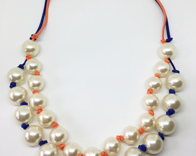 Pearls necklace, White pearls beaded necklace and color laces