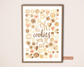 Kitchen | Poster Illustration Art Print | Oh, cookies you eat, water colour, christmas, bake