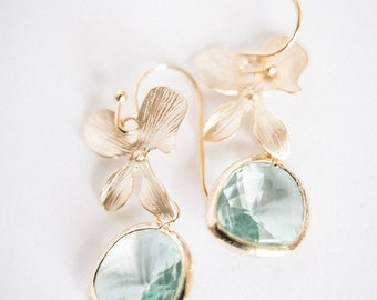 Seafoam and gold beveled glass orchid earrings
