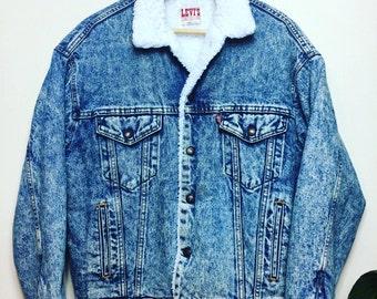 Vintage LEVIS Denim Sherpa Jacket Shearling Fur Lined Acid Wash 80s