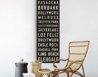 LOS ANGELES Bus Scroll, Subway Sign, Vintage Tram Roll, Canvas