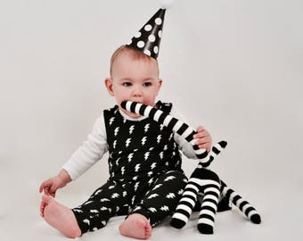 Monochrome Lightning Bolt Romper