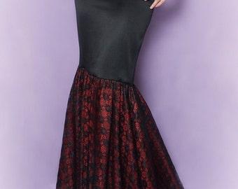 Long fit and flare skirt Style Comtesse Dentelle Sample sale Gothic bridal gown Neovictorian skirt Lace skirt Red black floor lenght skirt