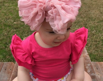 Pink tulle ruffle messy bow