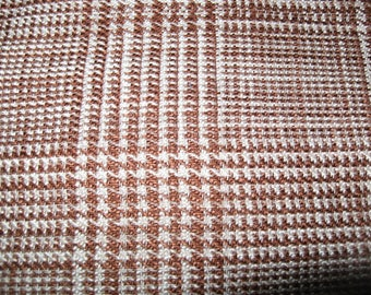 1 1/2 yards 60 wide  houndstooth plaid tan  brown  wool blend fabric
