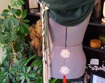 Handmade Oversize Cotton Cowl Hood Scarf in Hunter Green