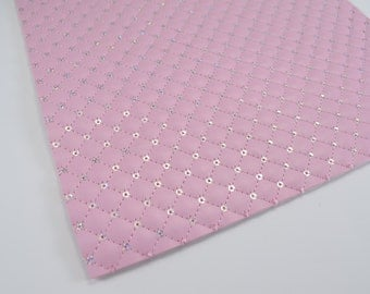 QUILTED PINK SEQUIN leather sheet,8x11 faux leather,pink quilted sheet,pink faux leather, pink vegan leather, quilted sequin, quilted fabric