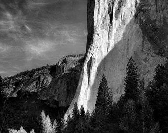 El Capitan, Yosemite, mountain, landscape, black and white