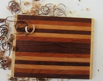 Wood Bread Board, Hardwood Cutting Board, Handcrafted Wood, Cherry Cutting Board, Striped Cutting Board Handmade, Wedding Gift, Wood Gifts