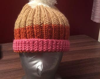 Child's Bobble hat, hand knitted