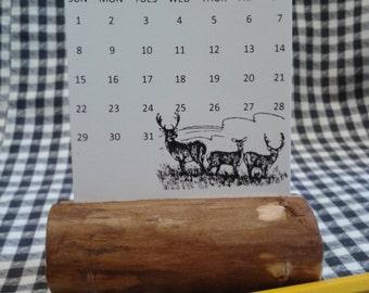 Desk Calendar, Wildlife Desk Calendar, Nature Desk Calendar, Rustic Desk Calendar,Wood Desk Calendar, 2017 Calendar, Calendar for men