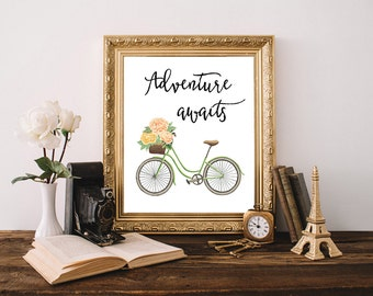 Adventure awaits, adventure awaits print, bicycle print, bicycle art, adventure quote, floral bicycle, nursery poster, adventure art
