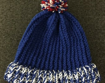 Blue and White Knit Beanie