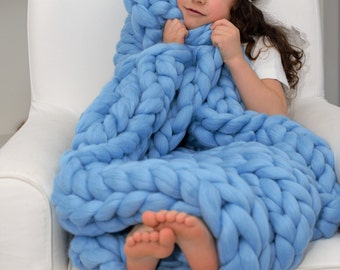 Coarsely knitted merino wool blanket blue 90 x 120 cm chunky blanket Merino Wool soft merino wool blanket