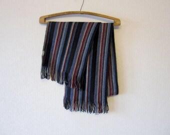 Blue Black Striped Scarf Men or Women Classic Shawl 54