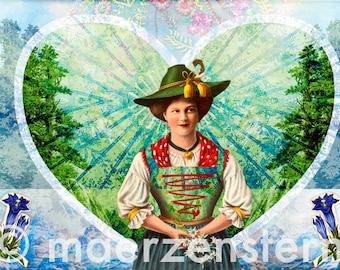 Postcard 'Alpenglühen' (16), greeting card, birthday card, mountains, Bavaria, heart, nature, forest, gentian, congratulations, Oktoberfest