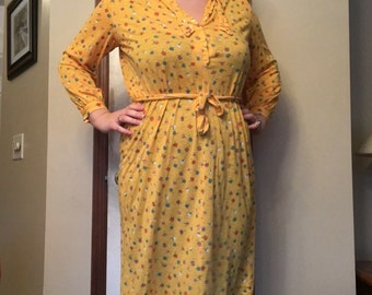 Vintage plus size yellow floral dress size XL