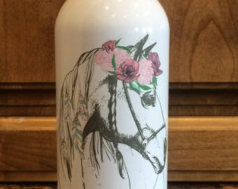 Personalized 20 oz Stainless Steel Water Bottle Horse Equestrian Kids Teacher Coach Gifts Horseback Riding