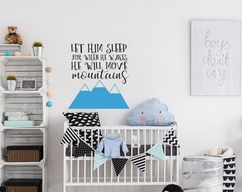 Let Him Sleep Decal Etsy - Baby nursery wall decals sayings