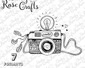 Camera Vector .SVG .EPS .DXF .png .jpg .pdf .studio3 for cutting, crafting, scrapbooking