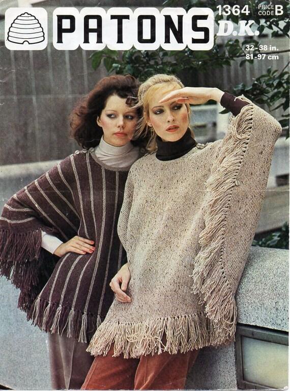 Knitting Pattern For Dk Poncho : womens ponchos knitting pattern PDF DK ladies poncho Vintage