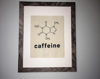 Burlap Print of Caffeine Molecule