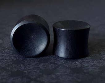 "Organic Concave Black Wood Plugs (9/16"")"