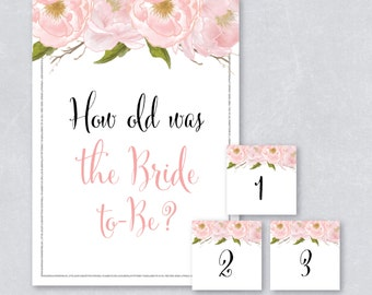 How old was the bride to be / Blush watercolor floral / Silver Glitter / Bridal shower game / DIY Printable / INSTANT DOWNLOAD