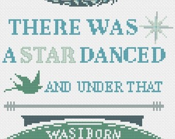 There was a Star Danced - Much Ado About Nothing - Shakespeare - Beatrice - Cross Stitch PDF Pattern