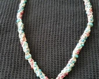 Glass flower pendant Hemp necklace