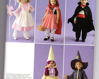 simplicity 0810, toddler halloween costume, sewing pattern, uc, ff, dracula, little bow peep, red riding hood, witch, clown , size .5-4