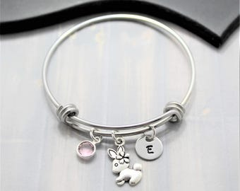 Personalized Rabbit Bracelet - Easter Gift - Little Girl Bangle Bracelet - Silver Bunny Bracelet - Adjustable Bangle