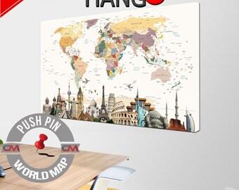 Push Pin, World Map, Push pin World map, World Map Canvas, World Map wall art, World Map Print, Map of the World, Canvas World Map, Split