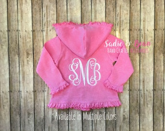 Monogrammed Girls Hoodie, Ruffle Sweatshirt, girls monogram, Spring Clothes, Summer clothes, Monogram, Lightweight Hoodie, Baby, toddler