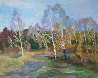 VINTAGE ART Original Oil Painting by a Soviet Ukrainian Artist Bespruzhnaya L. 1980s, Signed, Trees BIRCH painting, Hiqh quality