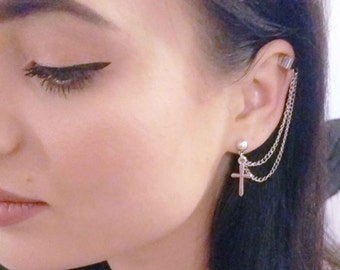Silver Ear Cuff with Chain and Cross Silver Ear Wrap (S4)