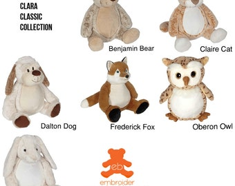 Personalised Clara Classic Collection Plush Animals – Bear, Cat, Dog, Fox, Owl, Bunny
