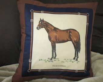 """Handmade Thoroughbred Toss Pillow with removable cover 20""""x 20"""""""