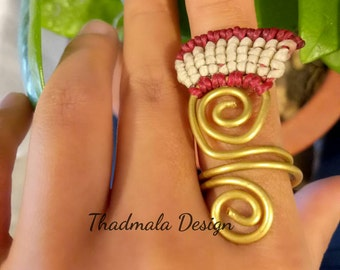 boho macrame and wire ring