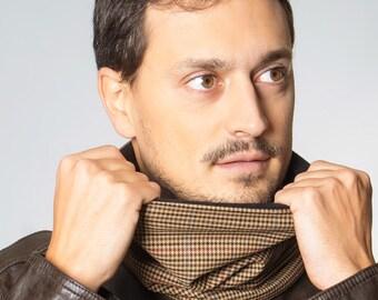 Cuello pata de gallo, bufanda para hombre, cuello para hombre, regalo para hombre, bufanda marrón, bufanda con forro polar, regalo original.