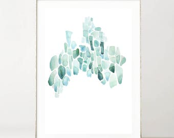 Abstract Watercolor Print, Minimalist, Set of Watercolor Prints, Green & Blue, Modern Prints, Sea Glass, Wall Decor, Beach House, Coastal