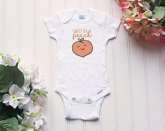 Sweet As A Peach Onesie® - peachy keen, baby girl Onesie®, baby nickname Onesie®, take home outfit, baby name Onesie®, Georgia Peach