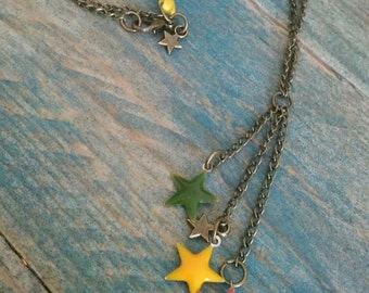 Bronze star necklace multicolor