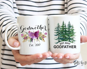 Godparent mugs, Godparent gifts, Godmother gift, godfather gift, gift idea for god parents, Godparent Request Baby Announcement Asking m3689