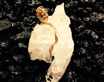Quartz Crystal Pendant with Gold-Filled Wire  QC-7725