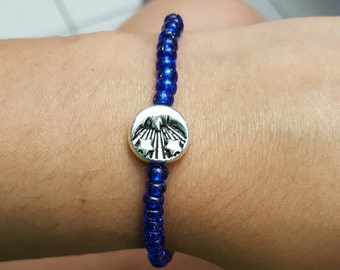Royal Blue and Silver Celestial Bracelet | Sun, Moon, Star, Galaxy Bead Bracelet, Style Fashion Jewelry Handmade, For Him, For Her, Birthday