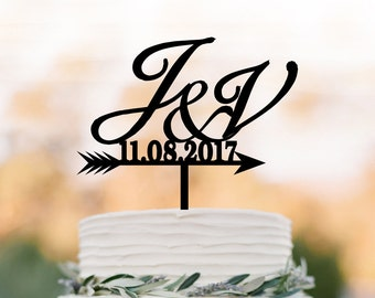 Custom wedding Cake topper initial,  cake topper monogram, cake topper with letter for birthday, wedding cake topper custom date