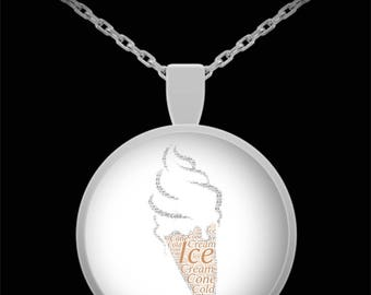 """ICE CREAM CONE Pendant with Necklace! Ideal gift for the ice cream lover in your life!! Wear it proudly on 22"""" silver plated necklace!"""