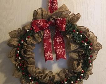 Country Christmas Burlap Wreath